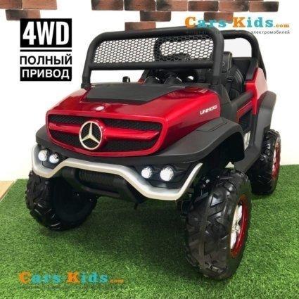 Электромобиль Mercedes-Benz Unimog Concept P555BP 4WD красный (полный привод, колеса резина, кресло кожа, пульт, музыка)